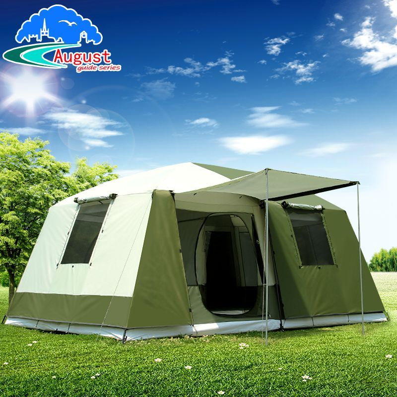 2 Bedroom 1 Living Room UV 8 10 12 Person Luxury Family Party Base Anti Rain Hiking Travel Mountaineering Outdoor Camping Tent