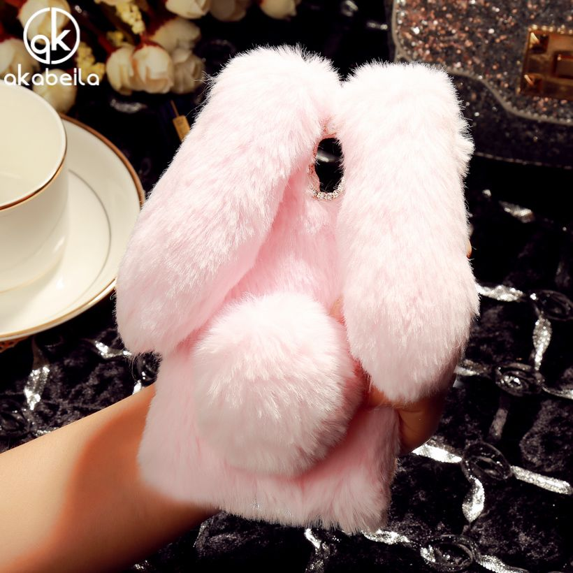 AKABEILA Rabbit Fur Mobile Phone Case For Lenovo A2010 Cases A2580 A2860 a 2010 4.5 inch TPU Silicone Covers Rhinestone Bags