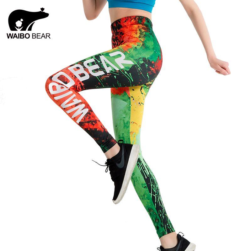 Leggings Slim de marque Graffiti Fire impression 3D leggings push up femmes WAIBO ours logo cheville-longueur élastique crayon de Fitness leggins