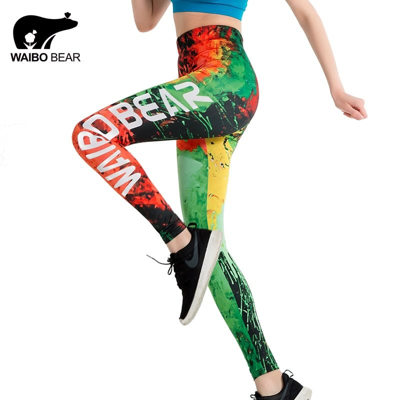 Brand Slim Leggings Graffiti Fire 3D Print push up leggings Women WAIBO BEAR logo Ankle-Length Elastic Fitness Pencil leggins