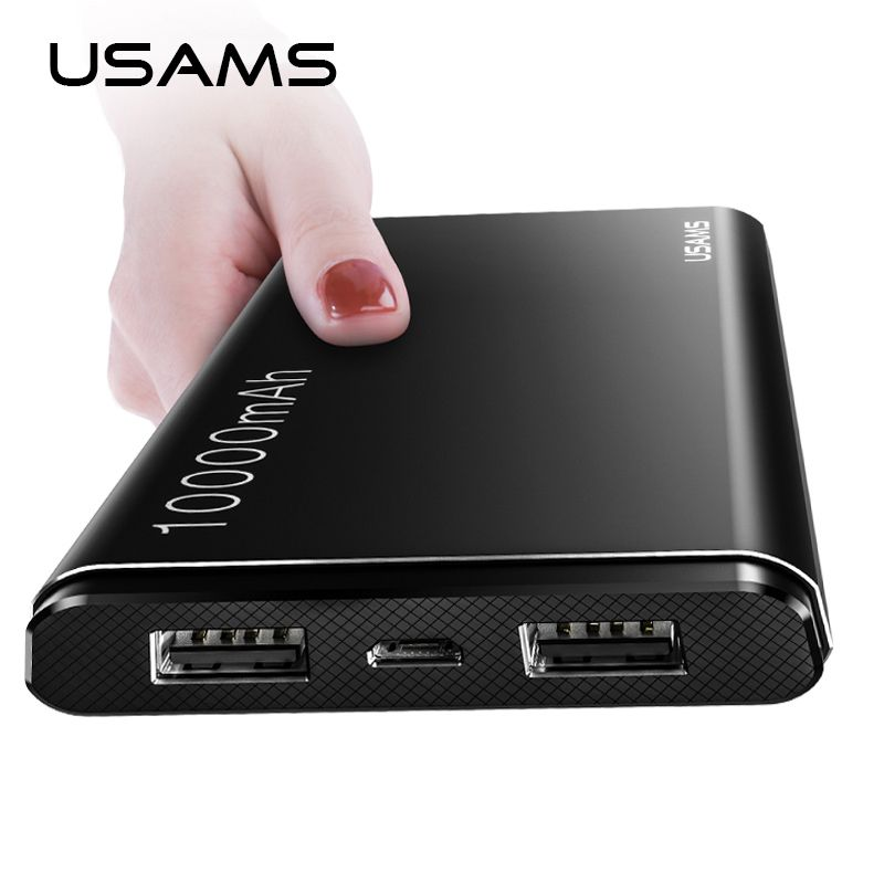 USAMS Power Bank 10000mAh Dual USB Mobile Phone Portable Charger Powerbank Backup External <font><b>Battery</b></font>