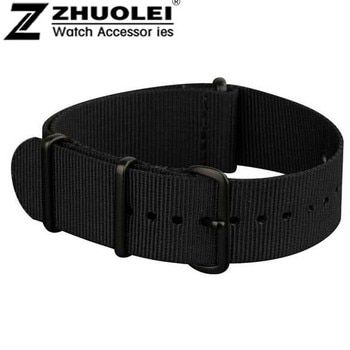 18mm 19mm 20mm 22mm NATO Watch Straps All Black Nylon Fabric Watchbands Stainless Steel Buckles Claps Durable perlon watch strap