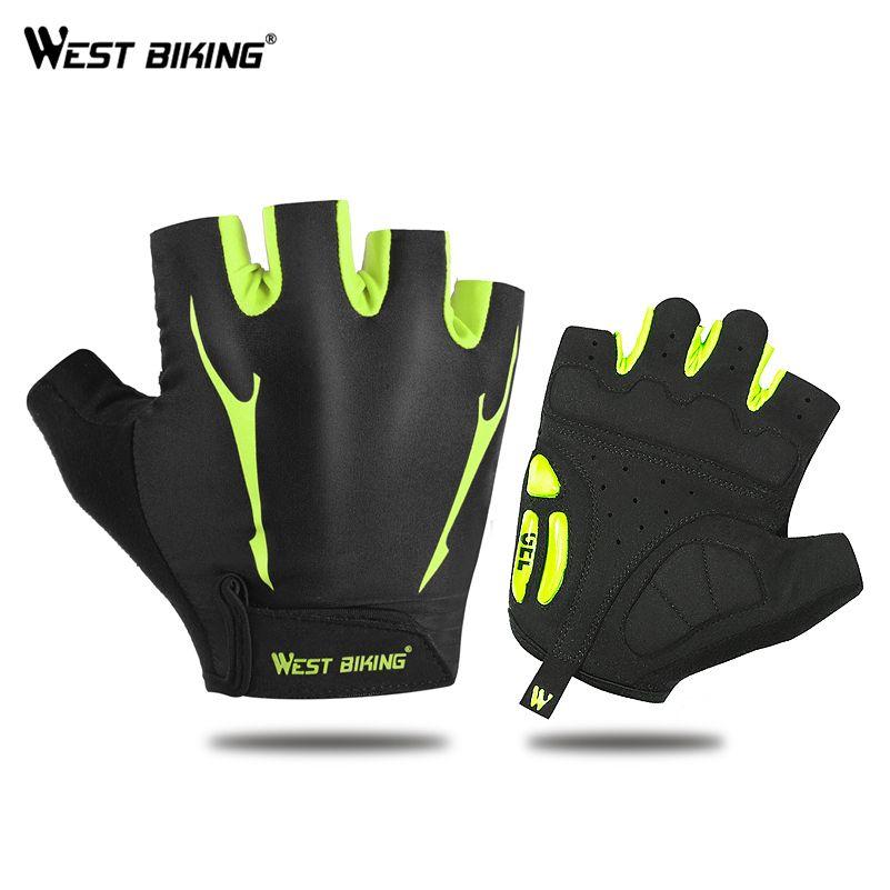 WEST vélo gants de cyclisme anti-dérapant respirant hommes femmes sport d'été vélo Gel Pad vtt vélo cyclisme demi doigt gants