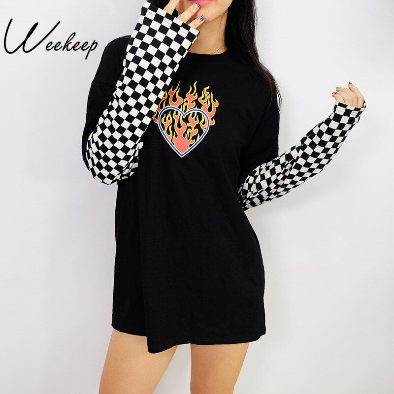 Weekeep Women Plaid Patchwork Long Sleeve <font><b>Flaming</b></font> Heart Print Sweatshirt 2017 Autumn Winter Black Checkboard Pullover Hoodies