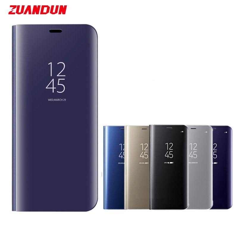 ZUANDUN De Luxe Clear View Miroir Flip Cas Pour Samsung Galaxy S9 S9 plus la Note 8 S8 S7 S7 Bord Intelligent Stand Housse En Cuir