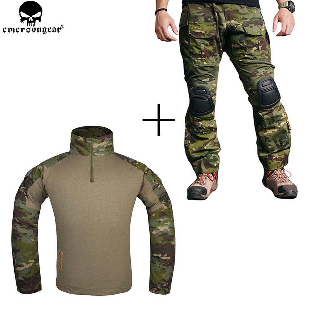 EMERSONGEAR Kampf Uniform Jagd Shirt Taktische Hosen mit Knie Pads Multicam Tropic emerson Gen 3 Jagd Hose