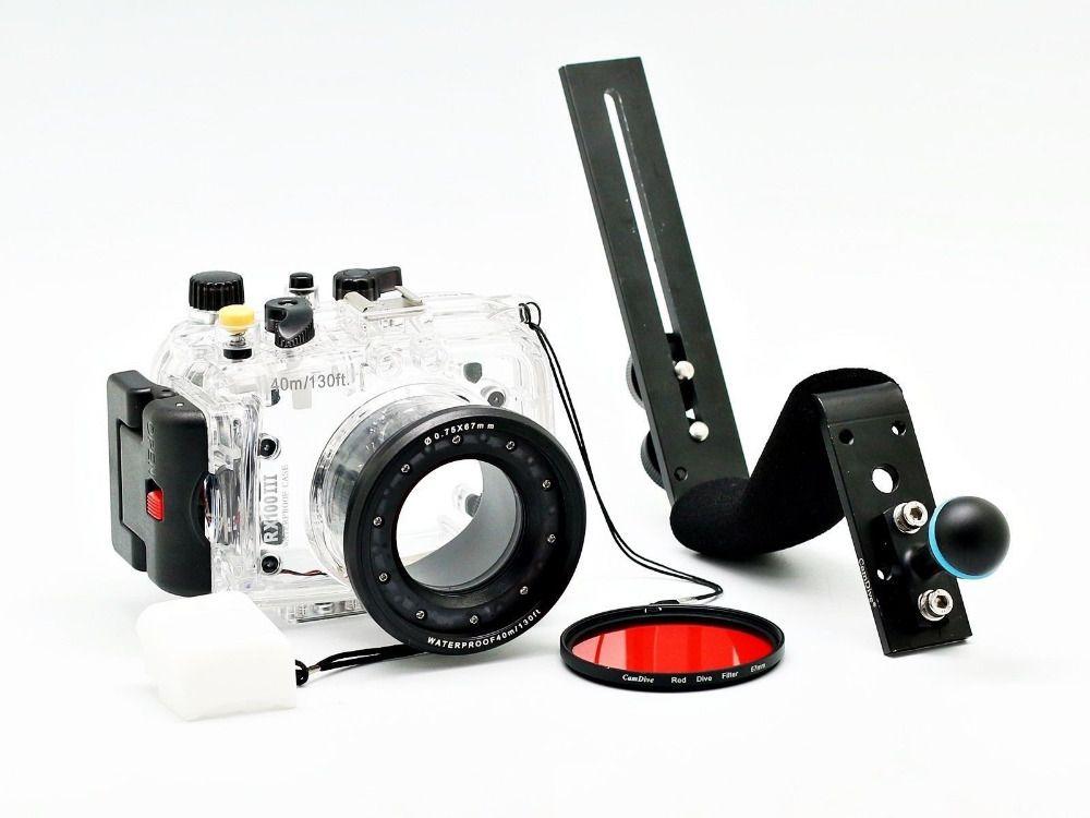 Für Sony DSC-RX100 III RX100-III RX100III 40 mt/130ft Meikon Unterwasserkamera Gehäuse Tauchen Fall kit, aluminium Tauchen Griff