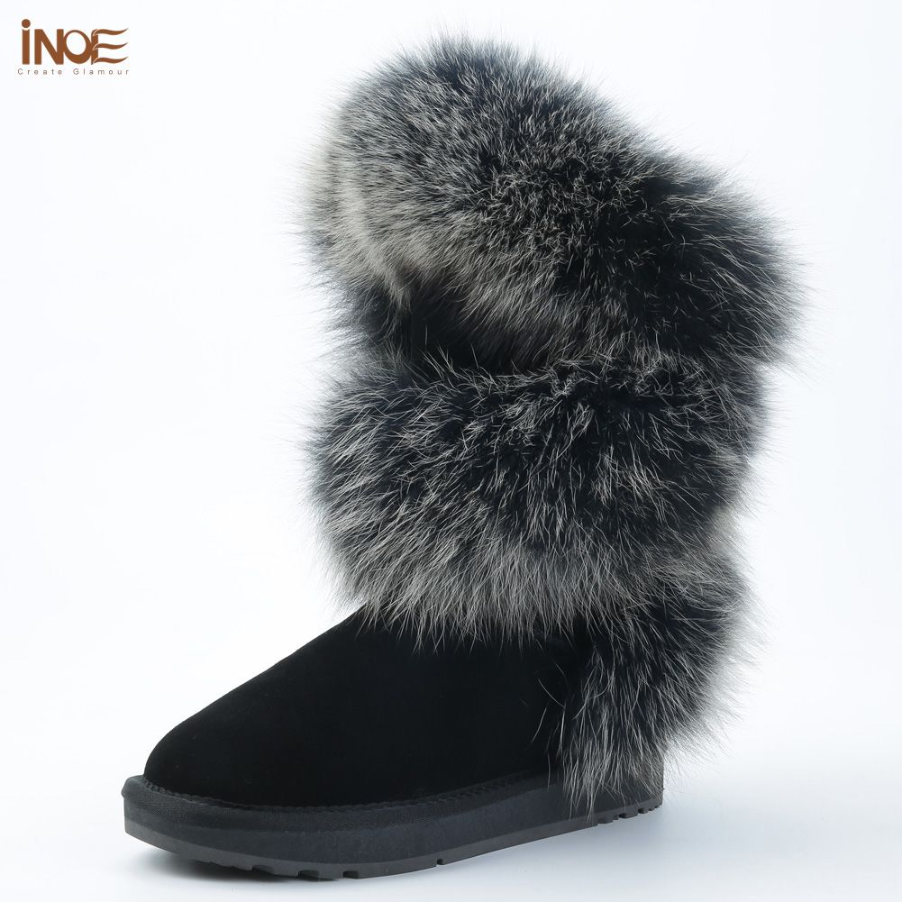 INOE fashion style real b'lue fox fur women high winter flats snow boots cow suede leather winter shoes black grey high quality