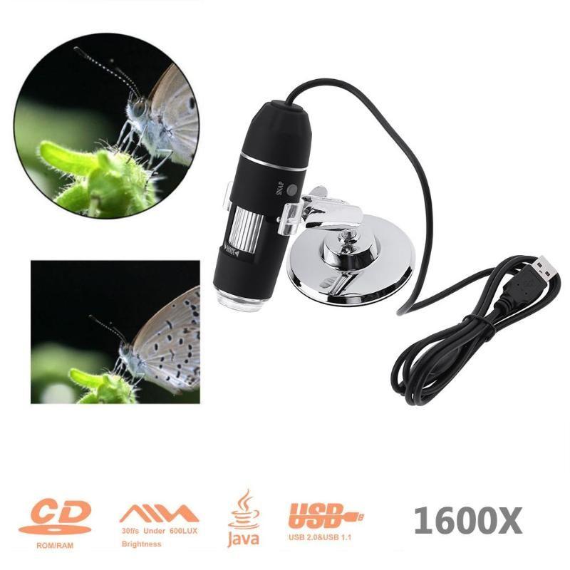 1600X Zoom 8 LED USB Digital Microscope Hand Held Biological Endoscope 2MP Pixel Microscopio Magnifier With Bracket
