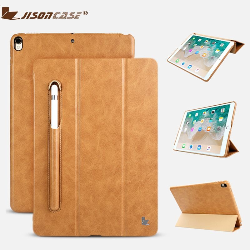 Jisoncase Leather Case For iPad Pro 10.5 Inch With Kickstand Pencil Slot Luxury <font><b>Shockproof</b></font> Folio Tablet cover For iPad Pro 10.5