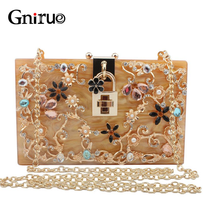 Fashion Luxury Brand Hollow Out Acrylic Clutch Women Evening Clutch Bags Party Women Shoulder Bags with Exquisite Diamond Flower