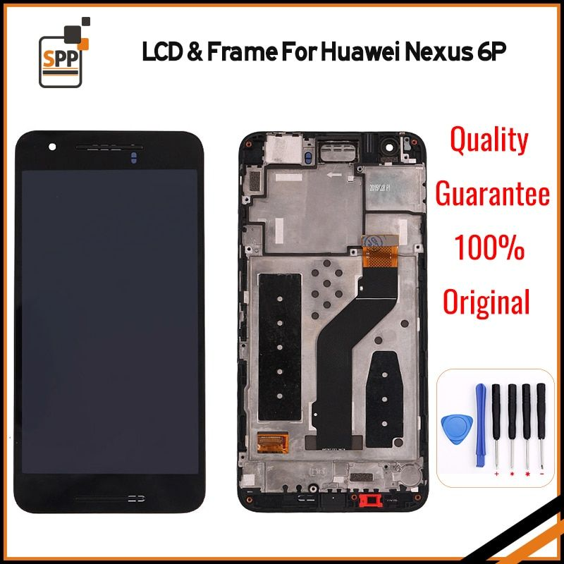 For Huawei Google Nexus 6P LCD Display Touch Screen Digitizer Assembly With Frame Replacement Parts Black+tool 2560x1440