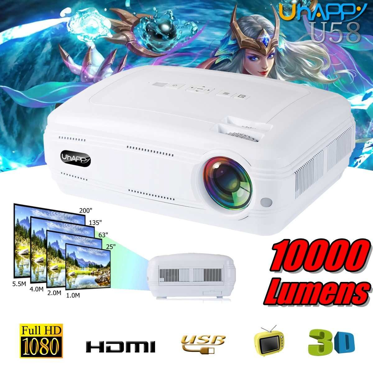 10000 lumen 1080 P 3D LED Home Cinema Theater Projektor TV/AV/VGA/HDMI Multimedia Beamer