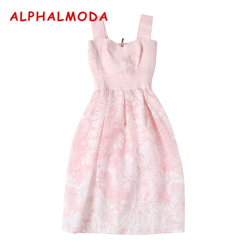 ALPHALMODA 2018 Women's Sleeveless Bandage Stretchy Top Slim Lace Ballgown Graceful Female Pink Vestidos