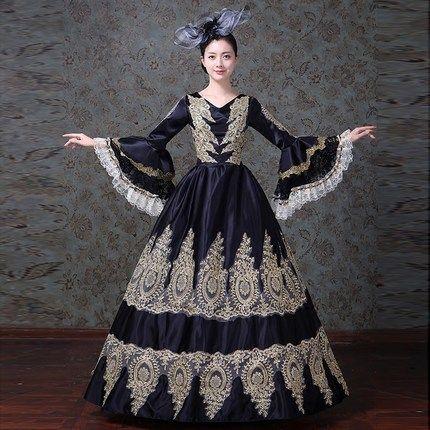 Black Vintage Royal Gothic Renaissance Victorian Steampunk Dress Ball Gown