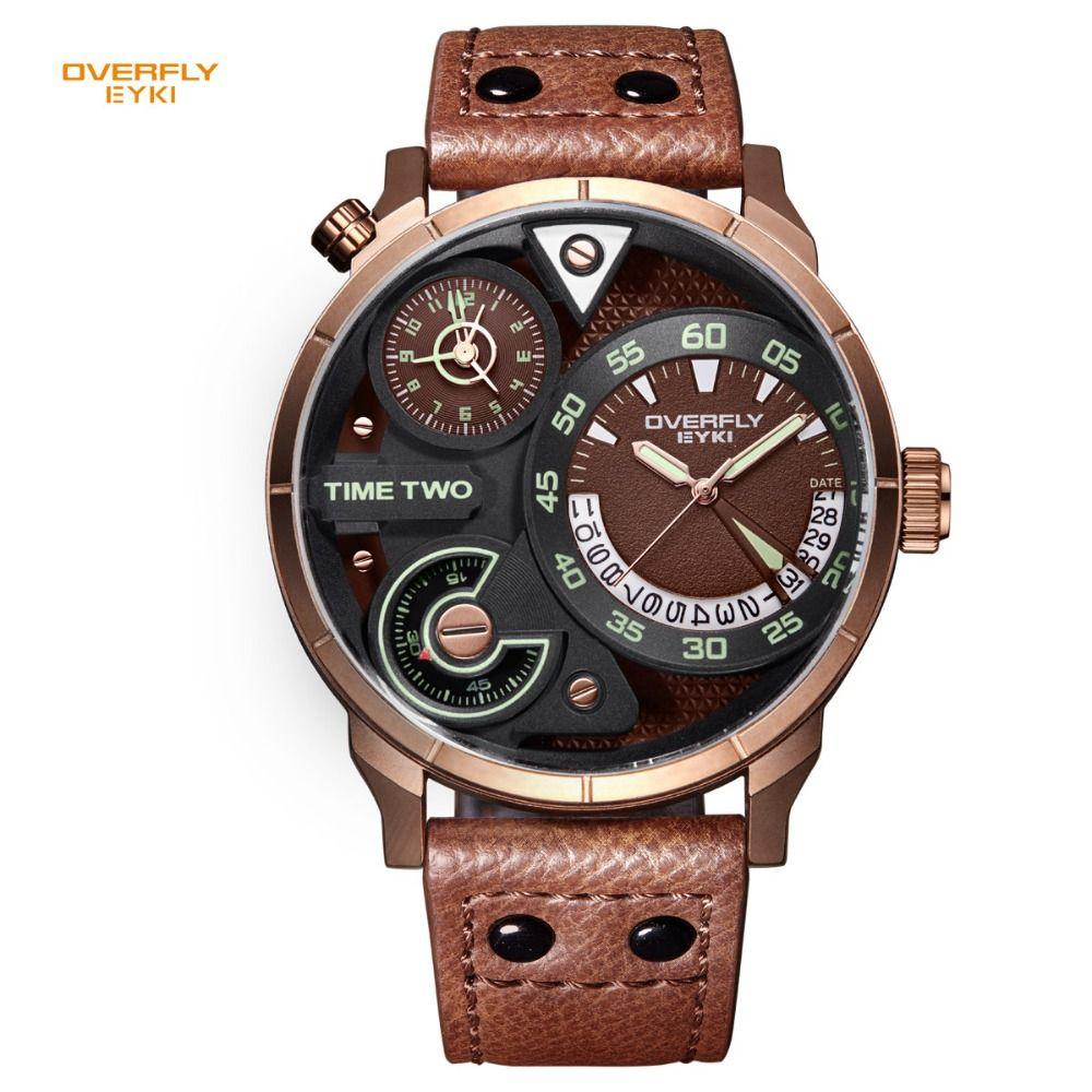 EYKI Brand Men's Military Sport Watches Men Genuine Leather Watches Waterproof Hour Date Quartz Wristwatch Clock with box