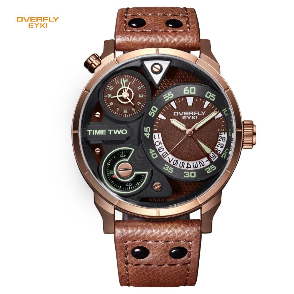 EYKI Brand Men's Military Sport Watches Men Genuine Leather Watches Waterproof Hour Date Quartz Wristwatch Clock with box