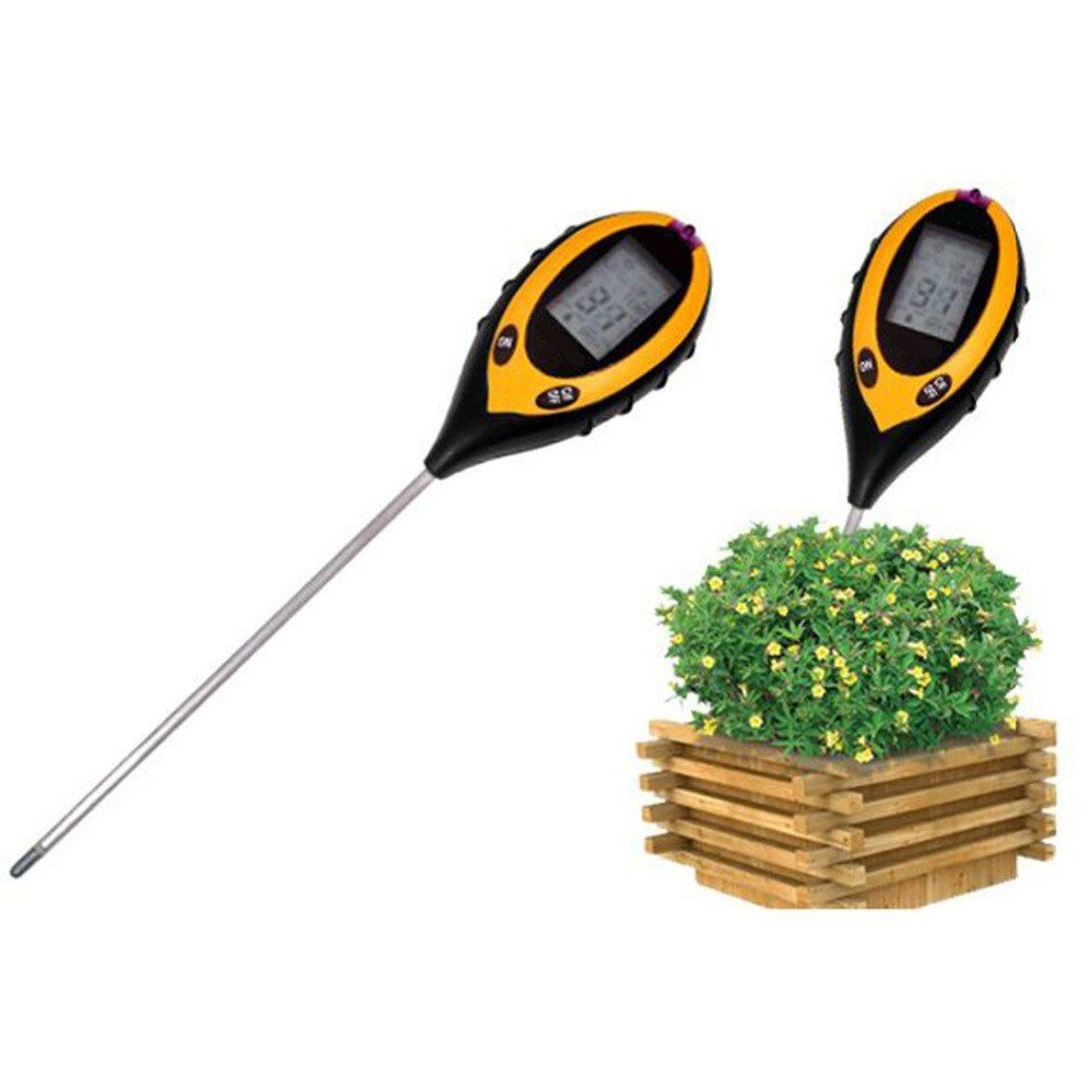 LCD Display 4 In1 Plant Flowers Soil Survey Instrument PH Meter Temperature Moisture Sunlight Tester For Agriculture