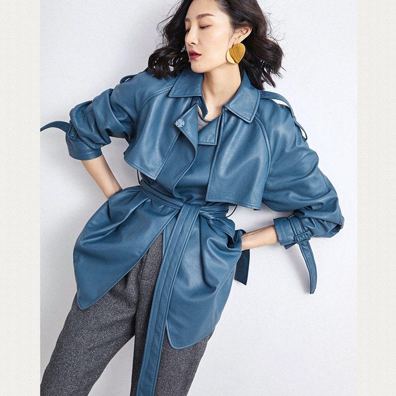 Frau Mäntel Echt Schaffell 2019 Mode Winter Schaffell Leder Mantel Weibliche Windjacke Echtem Lange Mantel Blau Und Gelb