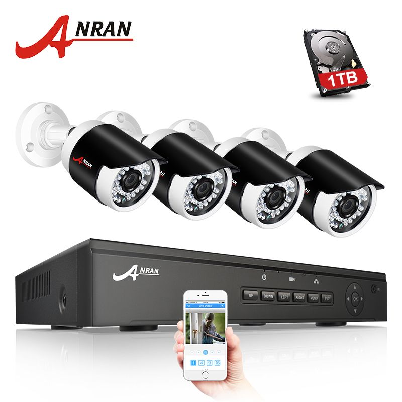 ANRAN P2P 1080P Full HD 4CH POE NVR 36 IR Day Night Outdoor Waterproof FTP Security 4pcs IP Cameras Home CCTV POE System HDD