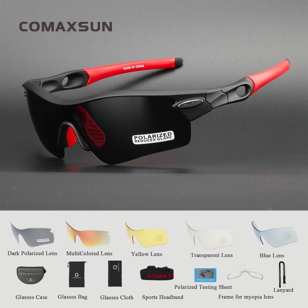 COMAXSUN professionnel lunettes de cyclisme polarisées lunettes de vélo sport vélo lunettes de soleil UV 400 avec 5 lentilles 5 couleurs