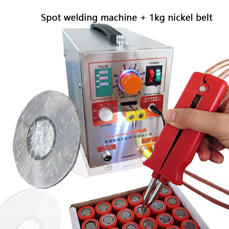 1.9kw LED Pulse Batterie Spot Schweißer 709a Löten Eisen Station Spot Schweißen Maschine für 18650 batterie pack + 1 rolle 0,1*4mm streifen