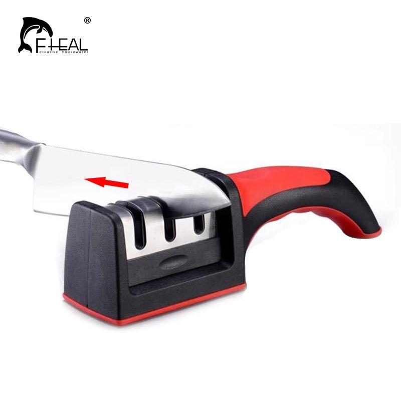 FHEAL 1pc Dropshipping Knife Sharpener Quick Sharpener Professional 3 Stages Sharpener Knife Grinder Non-Slip Silicone Rubber