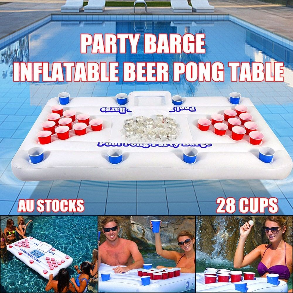 2018 New Summer Water Party Fun Air Mattress Ice Bucket Cooler 170cm 6inch 28 Cup Holder <font><b>Inflatable</b></font> Beer Pong Table Pool Float