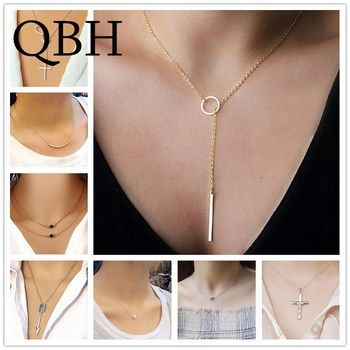 NK600+Minimalist Infinity Luck 8 Cross Leaf Arrow Heart Pendants Necklaces For Women Fashion Jewelry Clavicle Chain Collares