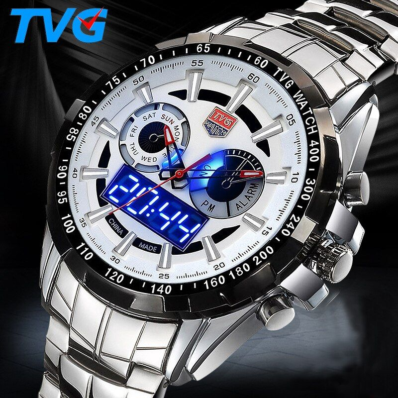 Top brand Military Digital Sport Watches Men's stainless steel Quartz LED 3ATM Waterproof man Wristwatch Army Relogio Hombre