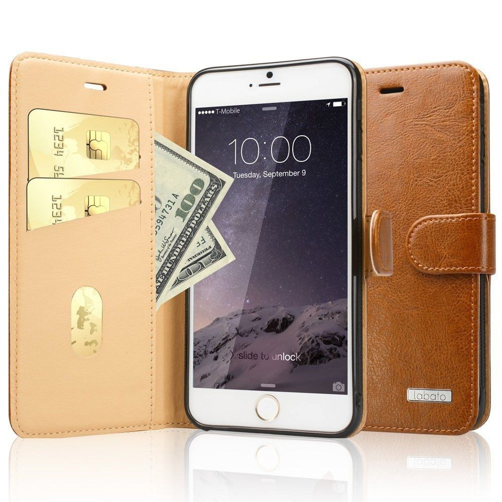 Labato Original Genuine Leather Wallet Case for iPhone 6 6s Luxury Magnetic Kickstand Card Slot Cover Sleeve for iPhone 6 6s