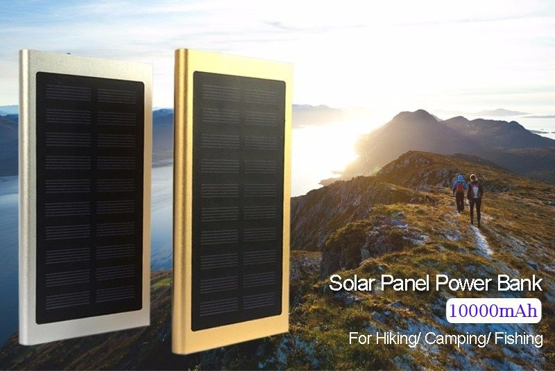 Ultra Thin Solar Power Bank Dual USB Travel power Bank 10000mAh External Battery Quick Charger Bateria for S8/iPhone 8
