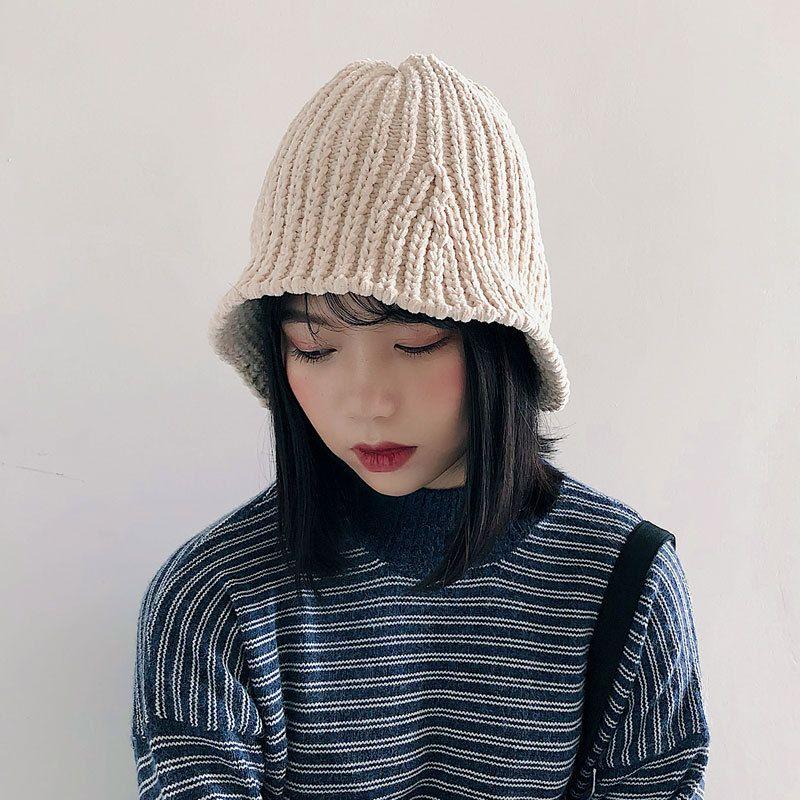 2018 Chenille pêcheur chapeau automne et hiver chapeau coréen Chic pliant tricoté élastique seau chapeau Hip Hop