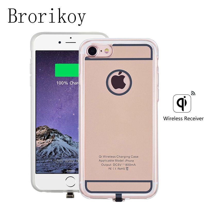 QI chargeur sans fil récepteur pour Apple iPhone 6 6 S 7 Plus étui 5 V/1A universel Portable étui en silicone étuis pour iPhone charge