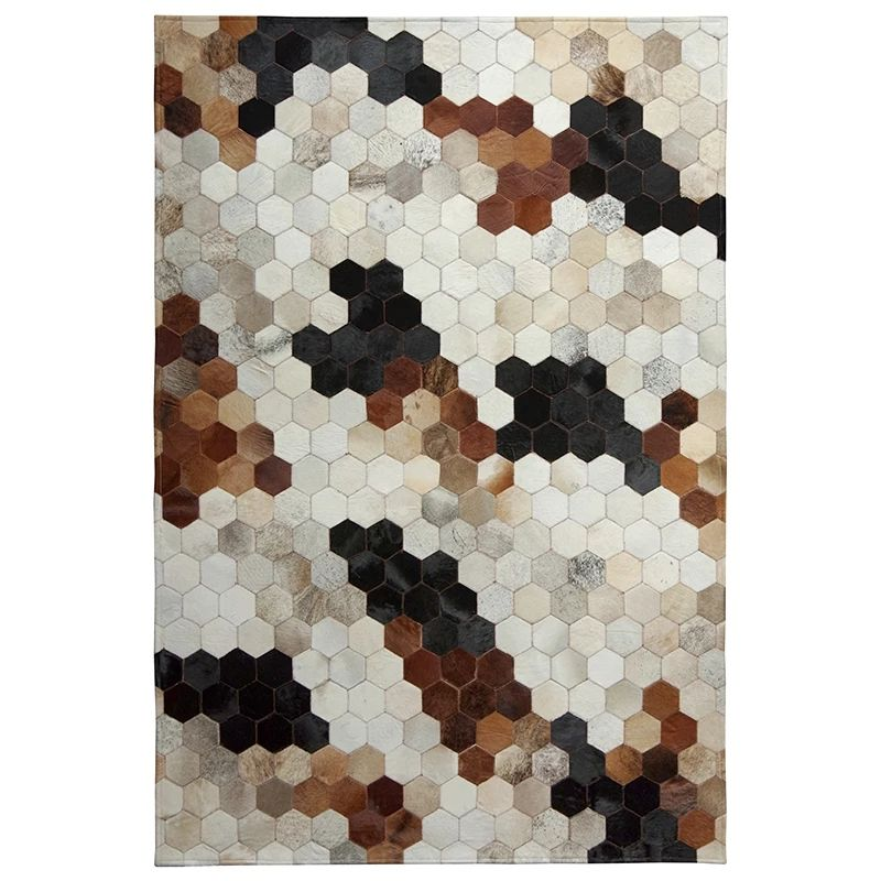 American style natural cowhide seamed rug 140*200 cm , gray color genuine cows skin carpet for living room, fur bedside carpet