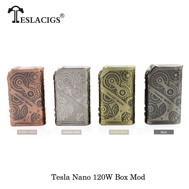 100% Original Electronic Cigarettes Tesla Nano 120W VW APV Box Mod Fit TESLA H8 Subohm 2017 best noMechanical Mod Vape Vaporizer