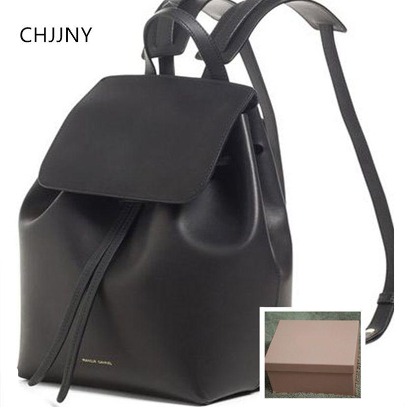 CHJJNY genuine real leather women mansur gavriel classical brand drawstring waterproof bagpack for teenage girl mochila school