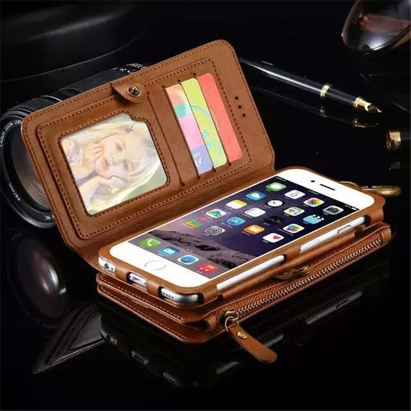 Second Layer Leather Case for iPhone 7 6 6S Plus New Multi <font><b>Functional</b></font> 2 in 1 Leather Stand Wallet Cover for iphone X 8 Plus Case