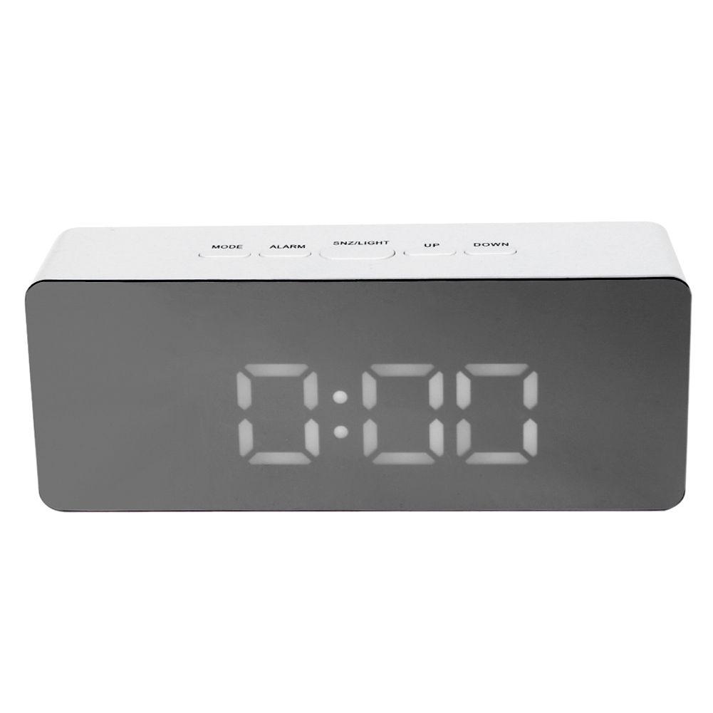 Multifunction Digital Mirror Clock LED Alarm Clock with Temperature Snooze Desktop Digital Table Clocks