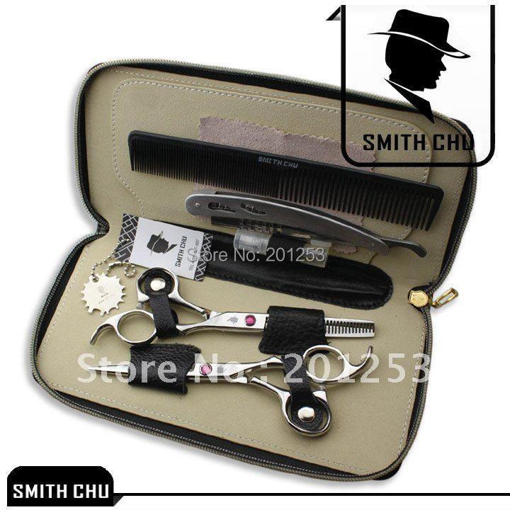 6.0 ciseaux de coiffure SMITH CHU ciseaux de coupe de cheveux ciseaux amincissants japon 440c professionnels barbiers Tesoura Kits LZS0003
