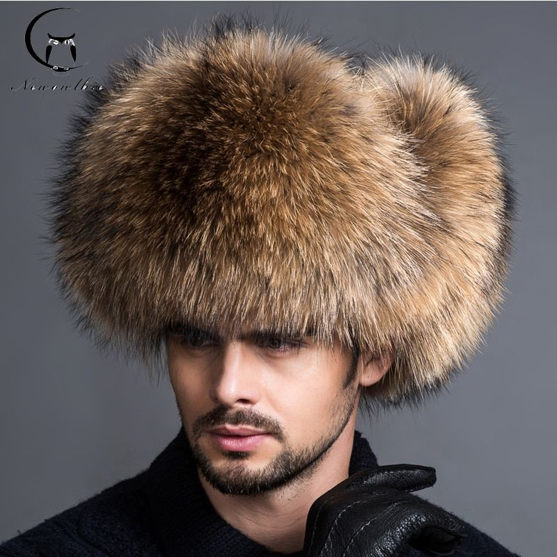 2018 NEW Natural Color Fur Hat Siberian Style Fur Hat Raccoon Full Ushanka Hat for middle-aged cotton cap Lei Feng hat