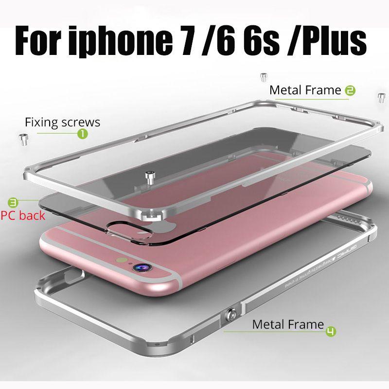 Couverture de Butoir en métal pour iphone 8 Cas Cadre En Aluminium pour iphone 8 7 Plus Clair de Couverture Arrière Coque pour iphone 7 en métal en Plastique Cas