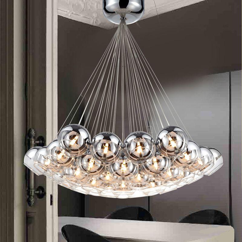 Moderne Chrome Boules En Verre LED Pendentif Lustre Lumière Pour Salon Salle À Manger Salle D'étude Maison Déco G4 Lustre Suspendu Lampe Luminaire