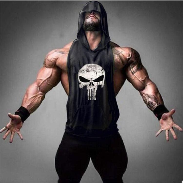 Skull Bodybuilding Stringer Tank Tops men Gyms Stringer Shirt Fitness Tank Top Men Gyms Clothing Cotton Vest hoodies