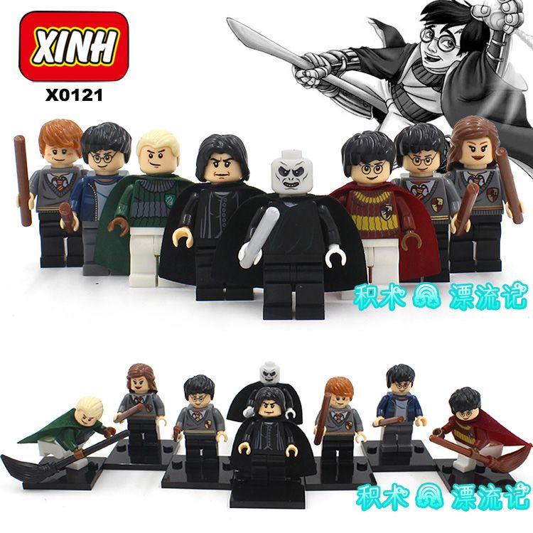 8pcs HARRY POTTER Movie Dumbledore Professor Snape Ron Weasley Hogwarts Express Hermione Building minifig Blocks Bricks Kids Toy