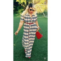 New african Design Bazin Sexy Big Elastic Plus Size Long Dashiki Dress with Belt Famous Brand Grid For Lady
