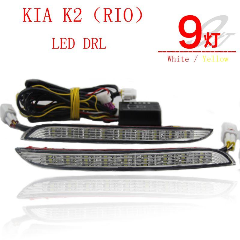 2PCs/set Super Bright LED DRL waterproof Daylight Daytime Running lights For KIA K2 RIO 2012 2013 2014