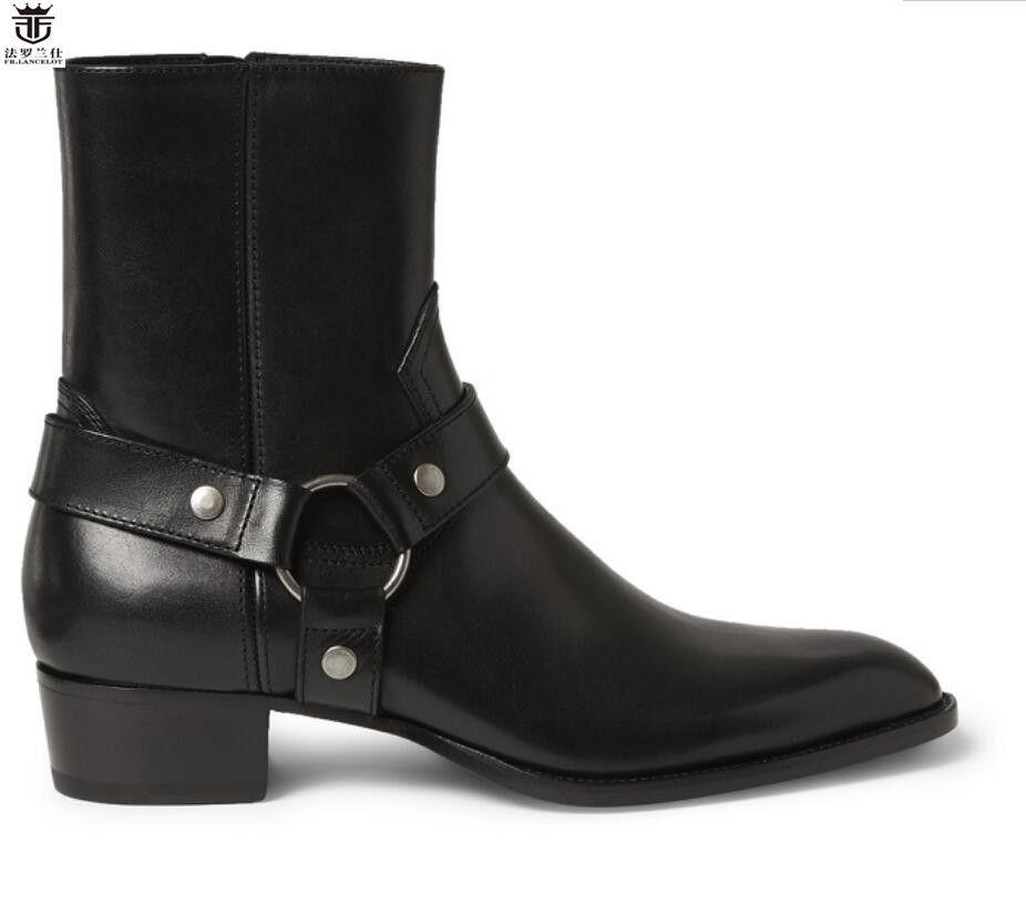 FR. LANCELOT 2018 Chelsea stiefel männer schwarze lederstiefel metall echtes Leder ankle booties high top zip up männer stiefel