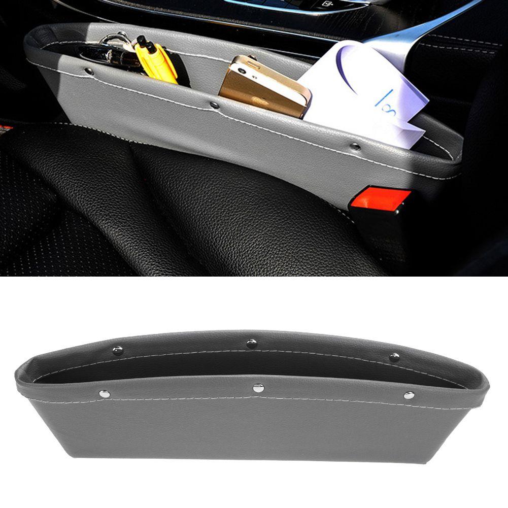 Newest PU Leather Catch Catcher Box Caddy Car Seat Slit Gap Pocket Storage Glove Box Organizer Slot Box Leather Stowing Tidying