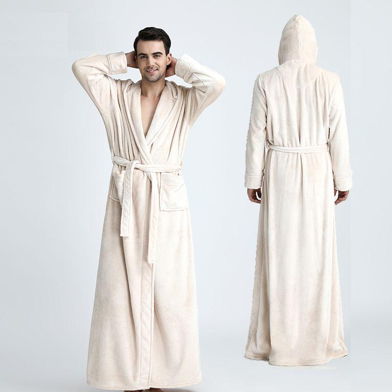 Для мужчин с капюшоном удлиненная Термальность Для ванной Халат плюс Размеры зимние фланелевые утепленная кимоно Для ванной Халат мужской ...